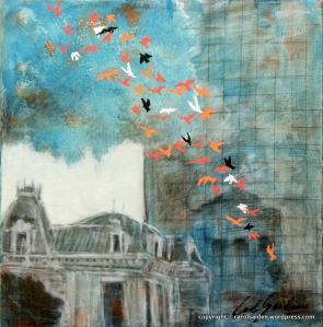 Passaros 1 - Mixed media on canvas - 40x40cm - Exposed at Art Fair Carroussel du Louvre Paris - 2012. A VENDA PELA AVA GALLERIA